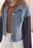 Knit Sleeves Mix Denim Jacket