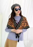 Leopard Pattern with Tassels Triangle Shawl