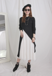 High Split Long Knit Top with Pleated Dress Set