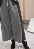 Mixed Fabric Loose Pants