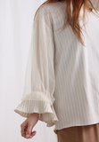 Ruched with Mesh Sleeves Pinstriped Top
