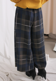 Blue Checkers Wide Legs Pants