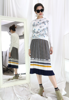 Blue Mix Yellow Checkers Pleated Skirt