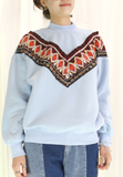 Ethnic Embroidered V Sweater