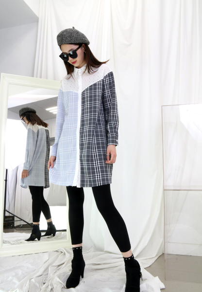 Embroidered Checkers Long Shirt