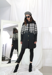 Houndstooth Patchwork Long Shirt