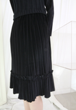 2-in-1 Velvet Pleated Dress