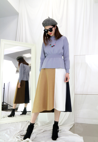 Colour Blocking Woolen Skirt