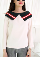 Contrast Knit Collar Top