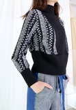 Mixed Fabric Ethnic Sleeves Top
