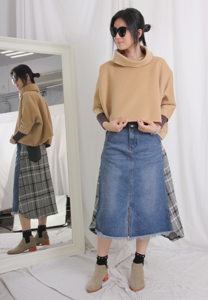 Front & Back Patchwork Denim Skirt