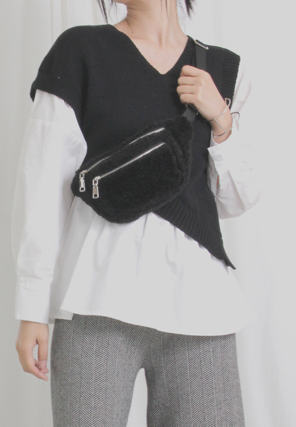 2-in-1 Asymmetric Knit Top Mix Shirt