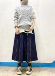 Zipped-Pleated Denim Skirt (pre order)