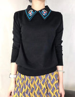 Embroidered Collar Knit Top (2 colours) (pre order)