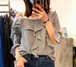 Off Shoulder Checkered Top (2 colours) (pre order)