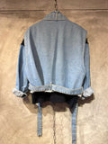 Denim Sleeves Knit Jacket with Denim Vest Set (2 colours) (pre order)