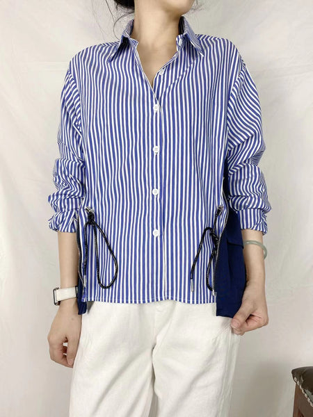 Side Pockets Pinstriped Shirt (2 colours) (pre order)