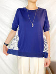 Mixed Fabric Back Pleated Top (2 colours) (pre order)