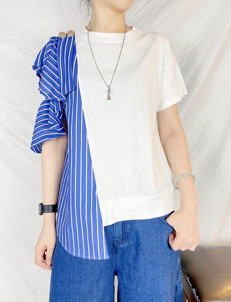 Mixed Fabric Side Striped Top (2 colours) (pre order)