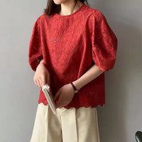 Puffy Sleeves Lace Top (2 colours) (pre order)