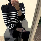 Puffy Sleeves Striped Knit Top (3 colours) (pre order)
