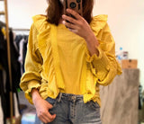 Ruffle Trimmed Lantern Sleeves Top (2 colours) (pre order)