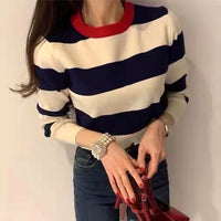 Contrast Collar Striped Knit Top (2 colours) (pre order)