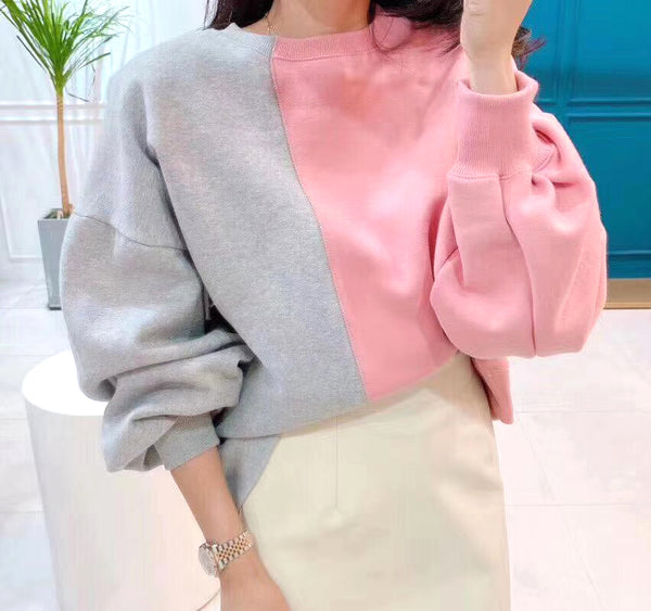 Mixed Fabric Sweater (2 colours) (pre order)