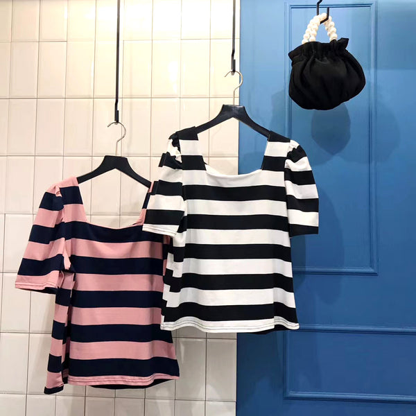 Puff Sleeves Striped Top (2 colours) (pre order)