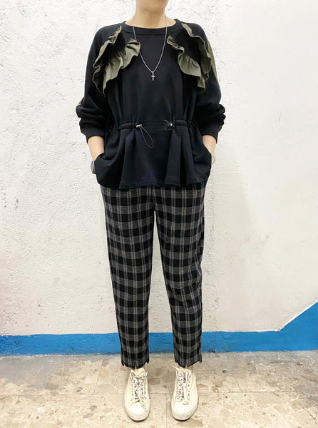 High Low End Checkered Pants (2 colours) (pre order)
