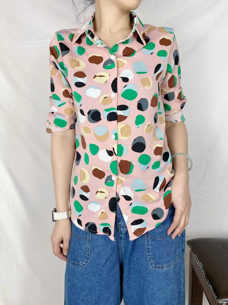 Dot Dot Pattern Chiffon Shirt (2 colours) (pre order)