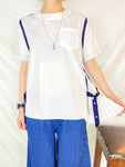 Contrast Stitch Side Pleated Top (2 colours) (pre order)