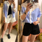 Pinstriped Mixed Lace Shirt (pre order)
