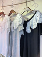 Pom Pom Embroidered Trimmed Top (3 colours) (pre order)