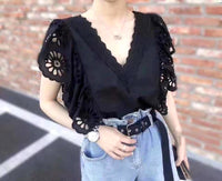 Embroidered Sleeves Top (2 colours) (pre order)