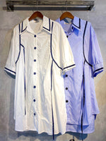 Contrast Stitch Ribbon Long Shirt (2 colours) (pre order)