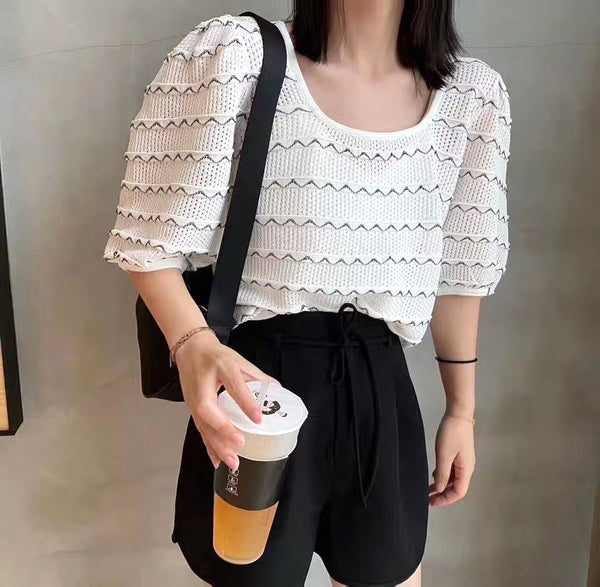 Contrast Stitch Knit Top (4 colours) (pre order)