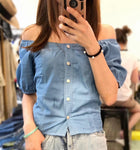 Puff Sleeves Denim Top (2 colours) (pre order)