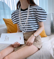 Puff Sleeves Striped Top (3 colours) (pre order)
