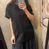 Mixed Fabric Side Pleated Top (4 colours) (pre order)
