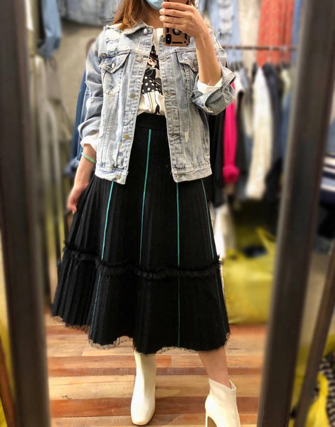 Contrast Stitch Skirt (2 colours) (pre order)