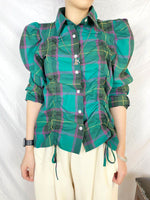 Ruched Checkered Shirt (2 colours) (pre order)