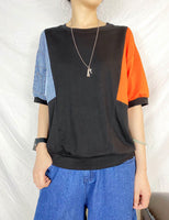 Mixed Fabric Denim Sleeve Top (2 colours) (pre order)