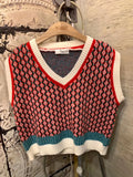 Geometric Pattern Knit Vest (2 colours) (pre order)