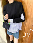 Mixed Fabric Faux Two Top (3 colours) (pre order)