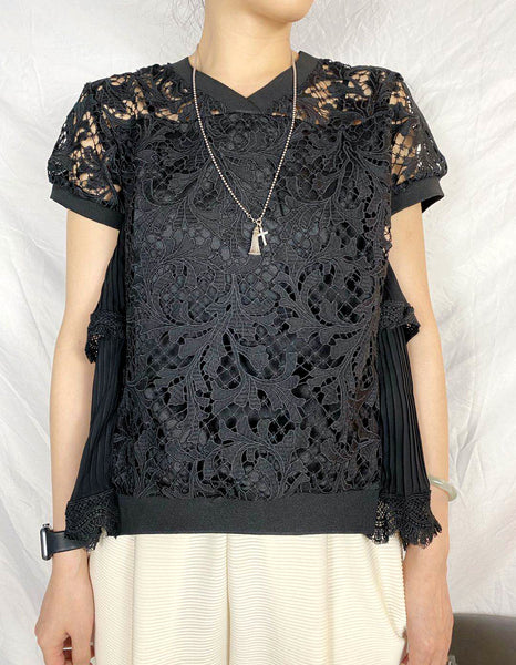 Back Pleated Lace Top (2 colours) (pre order)