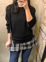 Faux Two Checkered Hem Knit Top (2 colours) (pre order)