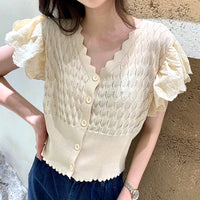 Wavy Edge Knit Top (2 colours) (pre order)