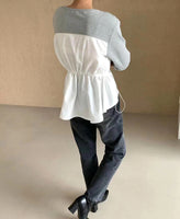 Mixed Fabric Waist Ruched Top (2 colours) (pre order)