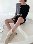 Multi Colours Bias Buttons Knit Top (2 colours) (pre order)